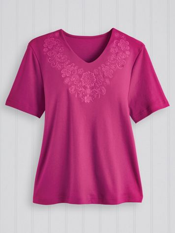 Tonal Embroidered Tee - Image 0 of 1