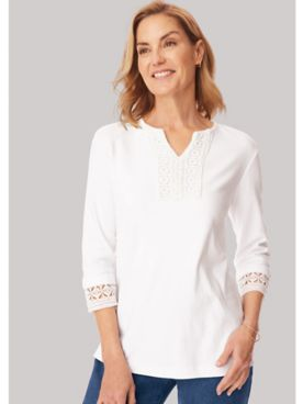 Two Twenty® Lace Trim Pullover