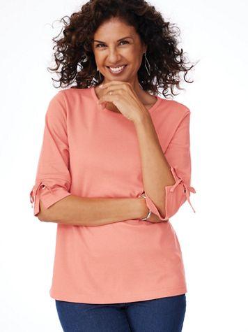 Essential Knit Tie Sleeve Tee - Image 1 of 8