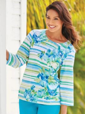 Alfred Dunner® Floral Stripe Top