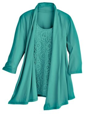 Lace Two-In-One Waterfall Top