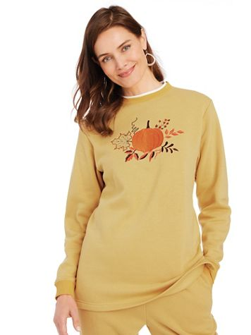 Better-Than-Basic Embroidered Tunic Sweatshirt - Image 1 of 13