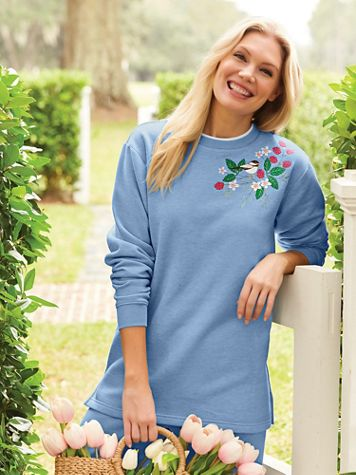 Better-Than-Basic Embroidered Tunic Sweatshirt - Image 1 of 7