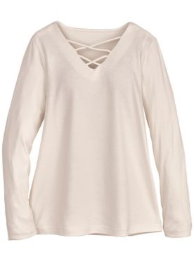Essential Knit Long-Sleeve Criss-Cross Top