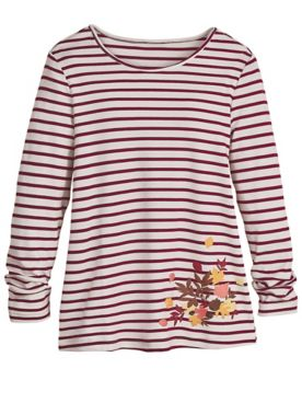 Long-Sleeve Striped Novelty Tee