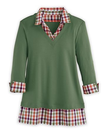 Three-Quarter Sleeve Layered-Look Flannel Trim Top - Image 2 of 2