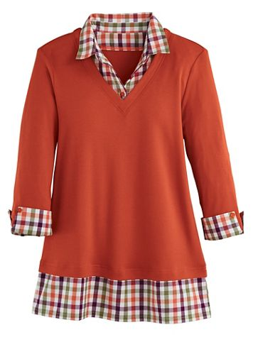 Three-Quarter Sleeve Layered-Look Flannel Trim Top - Image 1 of 1