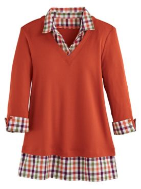 Three-Quarter Sleeve Layered-Look Flannel Trim Top