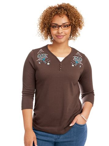 Embroidered Layered-Look Henley - Image 1 of 4