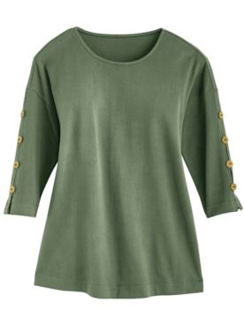 Textured Button-Trim Top