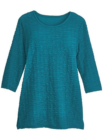 Three-Quarter Sleeve Textured Tunic - Image 1 of 1