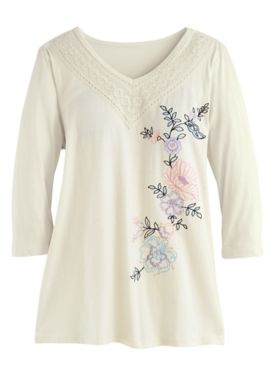 Embroidered Three-Quarter Sleeve Tunic
