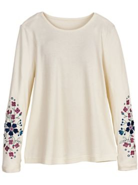 Long-Sleeve Blooms Embroidered Top