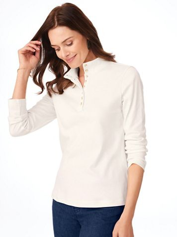 Essential Knit Long-Sleeve Button Henley - Image 1 of 4