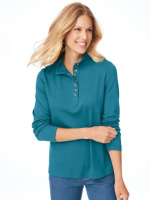 Essential Knit Long-Sleeve Button Henley