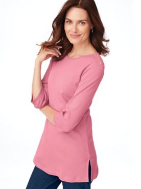 Essential Knit Three-Quarter Sleeve Button-Trim Tunic