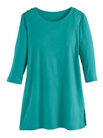 Essential Knit Three-Quarter Sleeve Button-Trim Tunic - Image 1 of 1