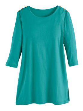 Essential Knit Three-Quarter Sleeve Button-Trim Tunic