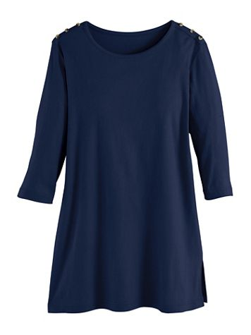Essential Knit Three-Quarter Sleeve Button-Trim Tunic - Image 2 of 2