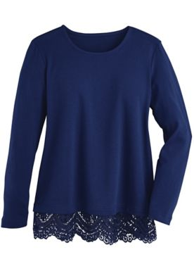 Layla Lace-Trim Long-Sleeve Top