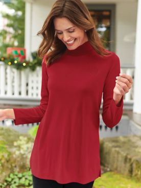 Long-Sleeve Crested Mockneck Tunic Top