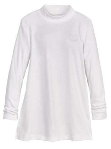 Long-Sleeve Crested Mockneck Tunic Top - Image 3 of 3