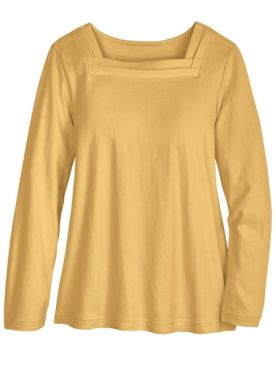 Long-Sleeve Square-Neck Tee