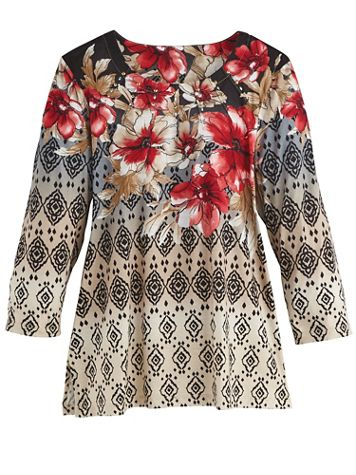 Alfred Dunner® Floral Yoke Print Top - Image 1 of 1