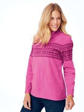 Fair Isle Quarter-Zip Scandia Fleece Top