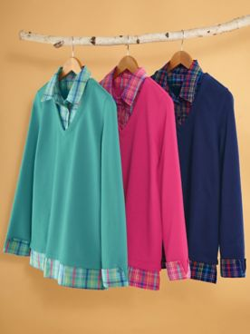 Layered-Look Fleece Top