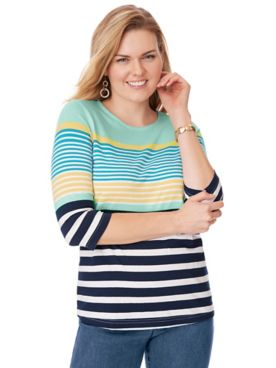 Three-Quarter Sleeve Striped Top
