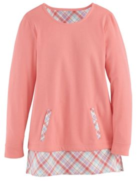 Plaid-Trim Fleece Pocket Tunic