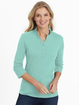 Essential Knit Three-Quarter Sleeve Ruffle-Neck Top