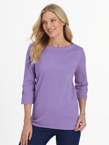 Three-Quarter Sleeve Criss-Cross Sailor Top - Image 1 of 7
