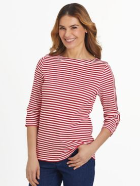 Three-Quarter Sleeve Criss-Cross Sailor Top