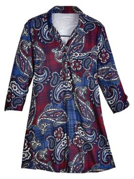 Paisley Three-Quarter Sleeve Hacci Top