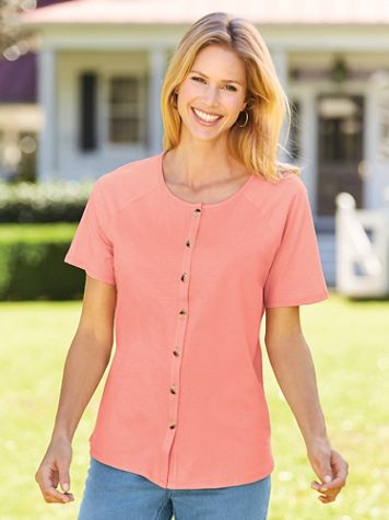 Short-Sleeve Button-Front Knit Top