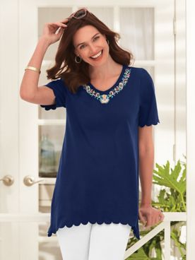 Short-Sleeve Knit Embroidered Arch-Hem Tunic