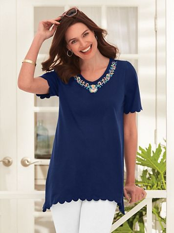 Short-Sleeve Knit Embroidered Arch-Hem Tunic - Image 2 of 2