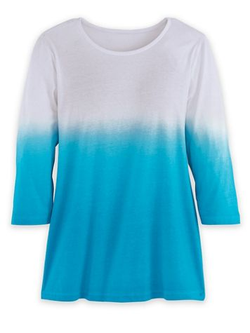 Three-Quarter Sleeve Ombré Pullover Knit Top - Image 1 of 3