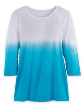 Three-Quarter Sleeve Ombré Pullover Knit Top