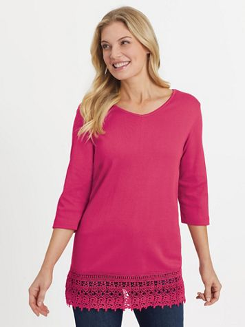 Three-Quarter Sleeve Knit Lace-Trim Tunic - Image 1 of 5