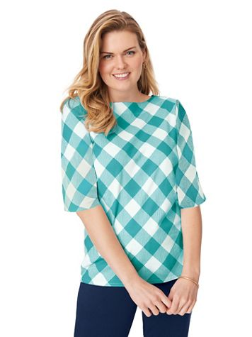 Three-Quarter Sleeve Gingham Check Boatneck Top - Image 1 of 4