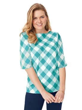 Three-Quarter Sleeve Gingham Check Boatneck Top