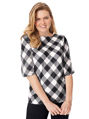 Three-Quarter Sleeve Gingham Check Boatneck Top - Image 3 of 4