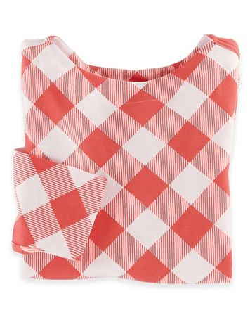 Three-Quarter Sleeve Gingham Check Boatneck Top - Image 3 of 3