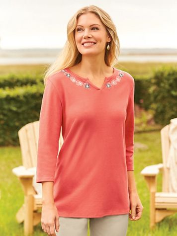 Three-Quarter Sleeve Embroidered V-Notch Knit Top