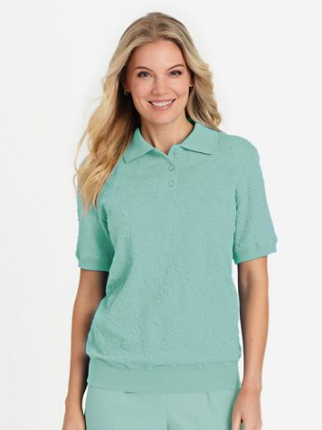 Alfred Dunner Short-Sleeve Blister Jacquard Knit Top - Image 1 of 2