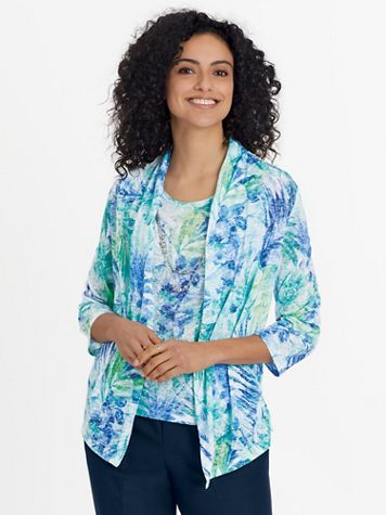 Alfred Dunner Three-Quarter Sleeve Burnout Two-For-One Top - Image 1 of 2