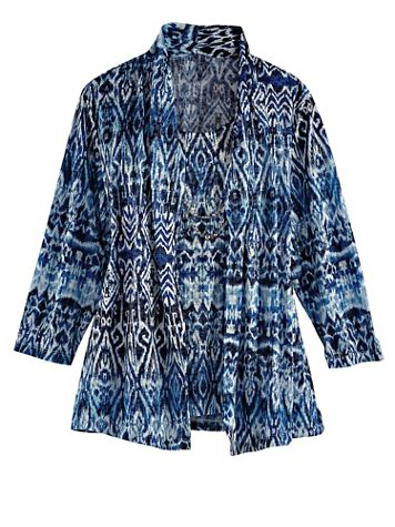 Alfred Dunner Three-Quarter Sleeve Burnout Two-For-One Top - Image 3 of 3